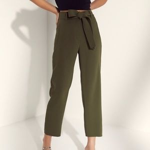 Aritzia Wilfred Tie-Front Pants in Olive Green